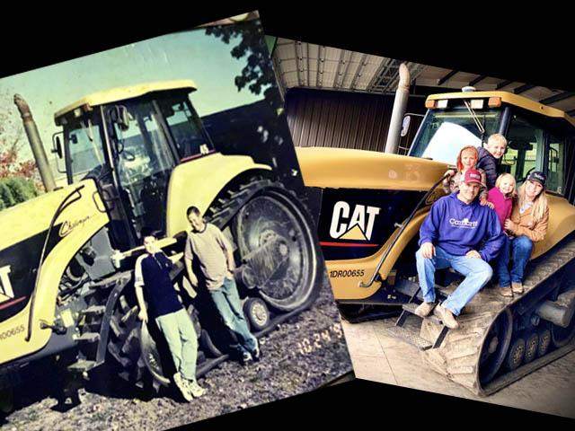 This 1995 Cat 45 served Brenda Frketich's family for 22 years. The photo on the left is of the day it arrived on the farm in 1999 (Kyle Kirsch, brother, and Patrick Kirsch, cousin are with it), and the photo on the right is the day it left the farm in 2021. Brenda sits with her husband, Matt, and daughter, Millie, between them with Auggie above Matt and Hoot behind Auggie. (Photos courtesy of Brenda Frketich)