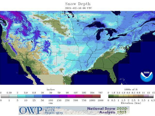 Contiguous U.S snow cover has reached a new record of 73.2%. (NOAA graphic)