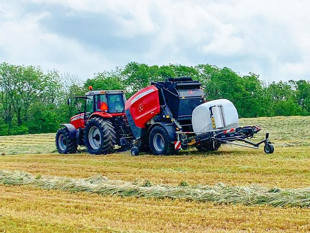 Massey Ferguson rolls out Protec bale-wrapping unit that allows producers to harvest and ensile high-moisture forages in one process. (DTN/Progressive Farmer photo courtesy of AGCO Corp.)