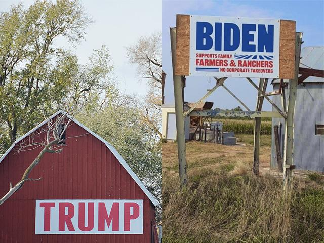President Donald Trump has more support in rural America than former Vice President Joe Biden, according to the DTN/Progressive Farmer Zogby Analytics poll. Both candidates continue to stump in key Midwest battleground states in the final weekend of the race.  (DTN image from file photos)