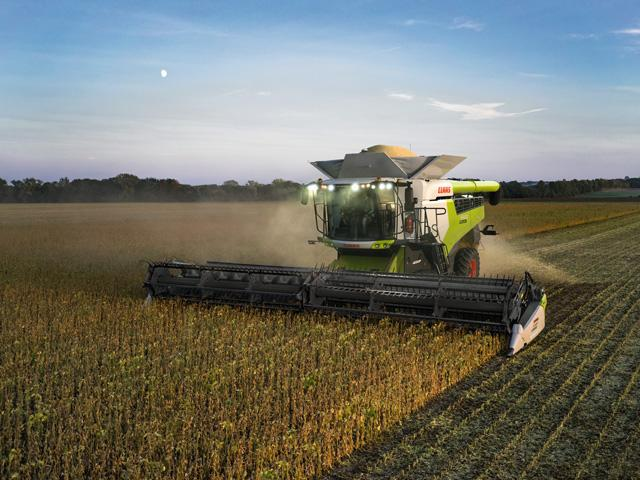 Claas 6000 Series combines provide 25% more throughput and reduces crop conversion time by 50%. (Photo courtesy of Claas of America)