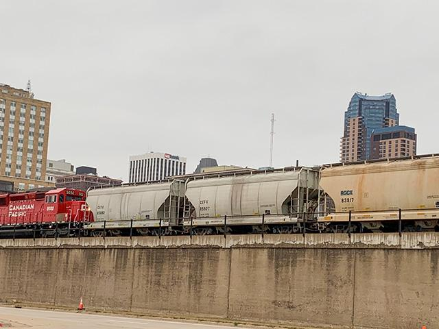 The Staggers Rail Act of 1980 is a U.S. federal law that deregulated the American railroad industry to a significant extent, replacing it with the regulatory structure that had existed since the Interstate Commerce Act of 1887. Pictured is a CP train moving through downtown St. Paul, Minnesota. (DTN photo by Mary Kennedy)