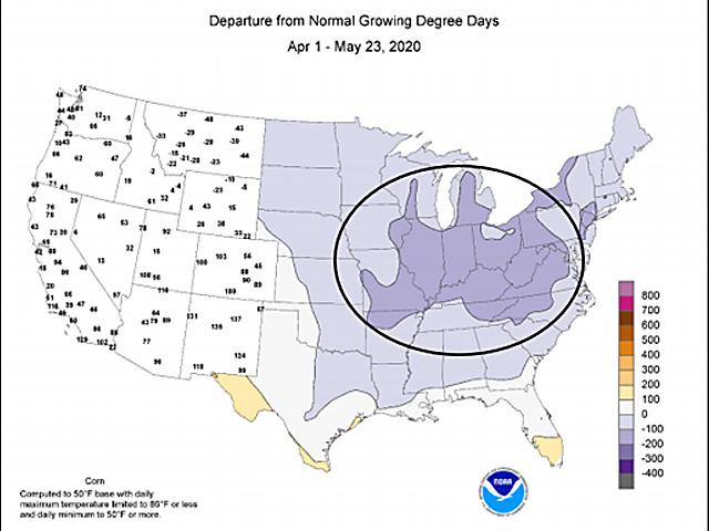 Growing Degree Day totals are significantly lagging the average across the Midwest -- a sign that sunlight and higher temperatures are needed for crop development. (NOAA graphic)