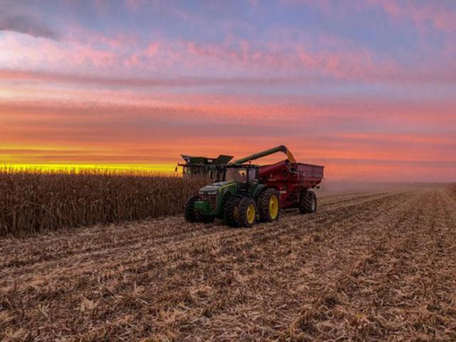 The painted fall skies of central Illinois make a beautiful backdrop for harvest. (Tanner Mickey photo)