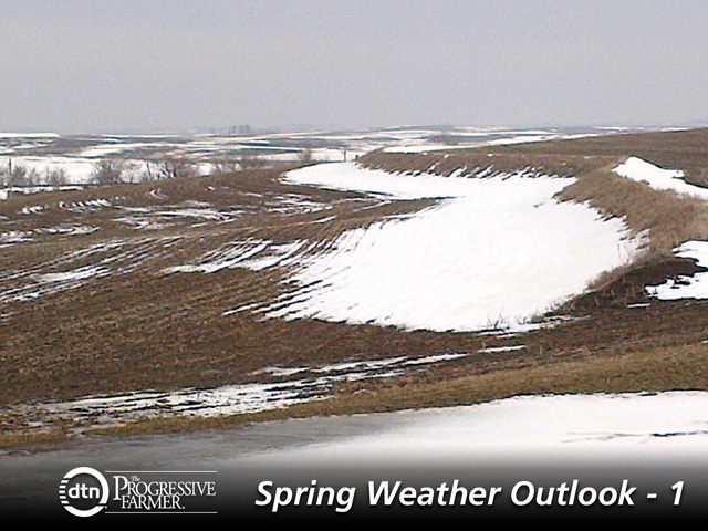 Late-winter snow in western Iowa produced minimal soil moisture while delaying the start of field work. (DTN photo by Bryce Anderson)