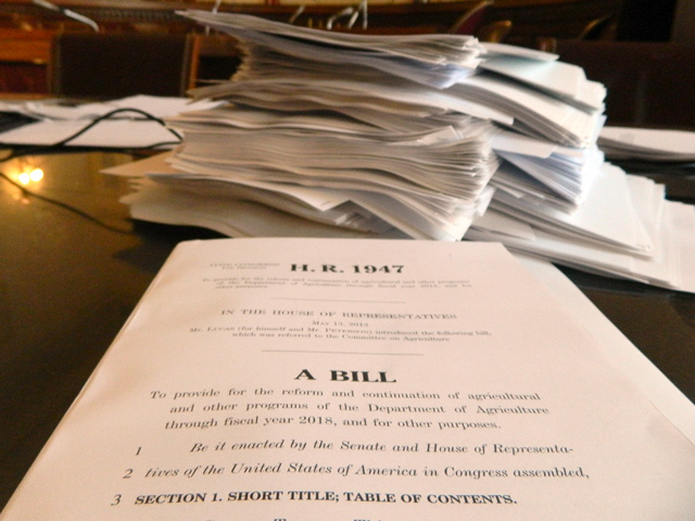 A stack of amendments from an earlier House farm bill debate. There will be no such stack today.