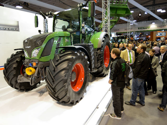 In the AgriTechnica 2013 Fendt booth the X-Concept tractor at its world premier. It is a prototype that generates 138 kw to power electric implements, using 700 DC volts. It is several years from introduction. It may eventually have electrical outlets for electric hand tools. (DTN photo by Jim Patrico)
