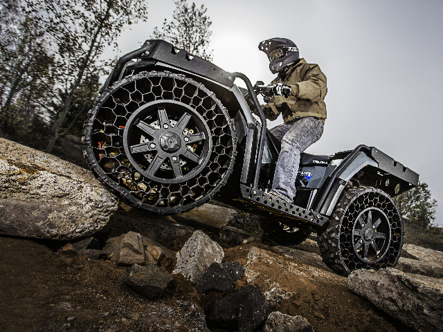 Non-pneumatic tires don't go flat, even in the harshest of conditions. (Photo courtesy of Polaris Industries, Inc.)