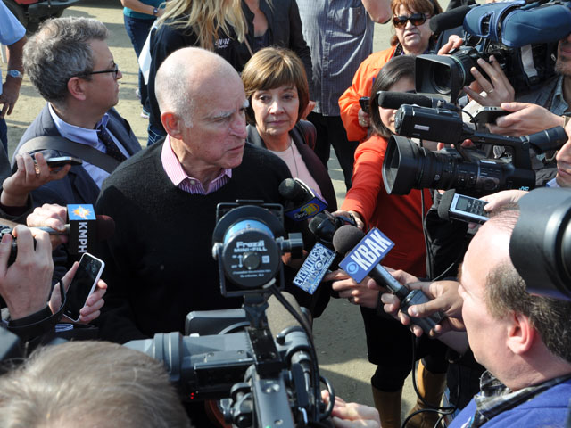 California Gov. Jerry Brown attending the World Ag Expo in Tulare, Calif., in 2014 (file photo by Greg Horstmeier)