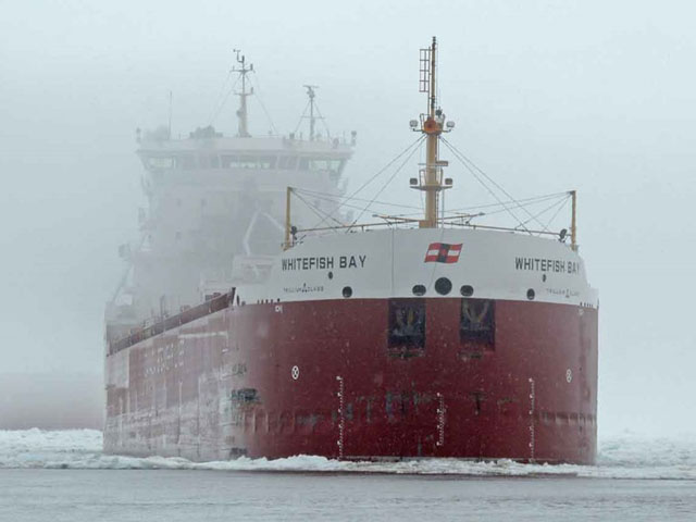 The Whitefish Bay, fourth of a seven-ship convoy arriving early morning in Duluth on April 30. (Photo courtesy of Ken Newhams, Duluth Shipping News)