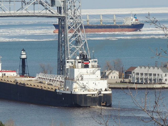 Saltie Apollon at anchor just beyond the lift bridge surrounded by the ice that refuses to melt. (Photo by Kenneth Newhams, Duluth Shipping News)
