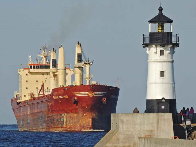 The Federal Mattawa entering Duluth port to load grain. (Photo courtesy Kenneth Newhams, Duluth Shipping News)