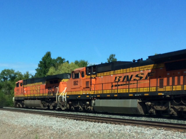 A BNSF locomotive moving through northwest Minnesota along the Northern Corridor. (DTN photo by Mary Kennedy)