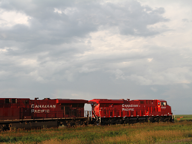 Canadian Pacific locomotives on track near southern Saskatchewan. (DTN photo by Elaine Shein)