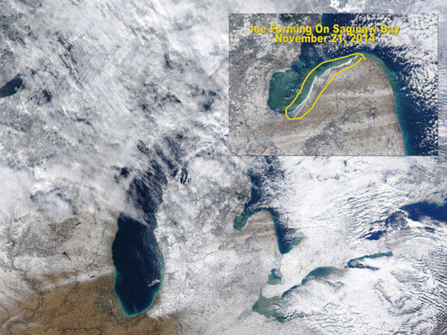This satellite photo from Nov. 21 shows ice starting to form on Saginaw Bay. (Photo courtesy of MODIS-University of Wisconsin)
