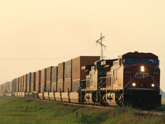 Canadian Pacific train of containers heading for export. (DTN photo by Elaine Shein)