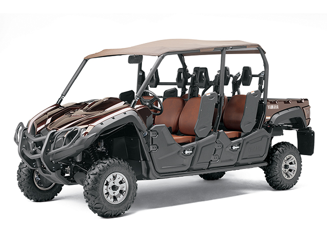 As the side-by-side market explodes, configurations continue to grow in size and diversity. The Yamaha Viking VI seats six and has a soft sun top. (Photo courtesy Yamaha)