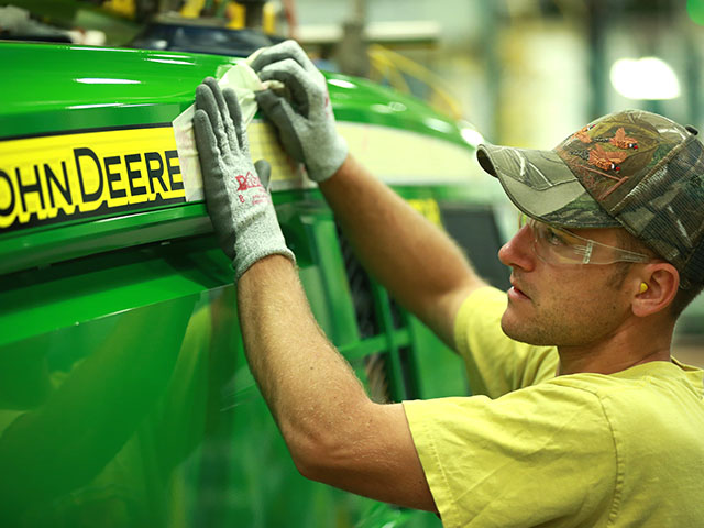 John Deere's factory in Waterloo, Iowa, is still pumping out big tractors, albeit at a slower rate as sales slip. (Photo courtesy John Deere)