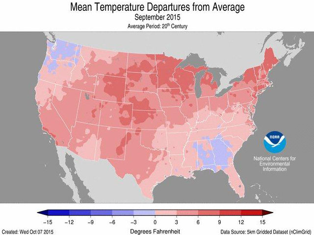 Much of the western and northern Corn Belt saw temperatures more the 6 degrees Fahrenheit above average in September 2015. (NOAA graphic)