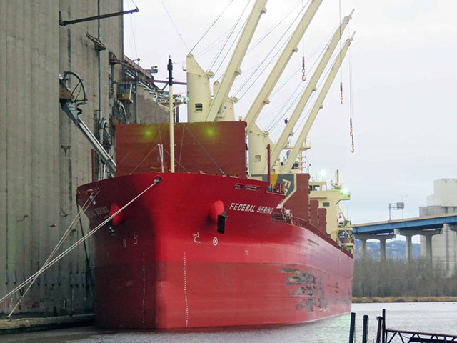 Federal Bering was at CHS 2 in Superior to take on a split load of wheat and canola to take to Mexico. (Photo courtesy of Duluth Shipping News)
