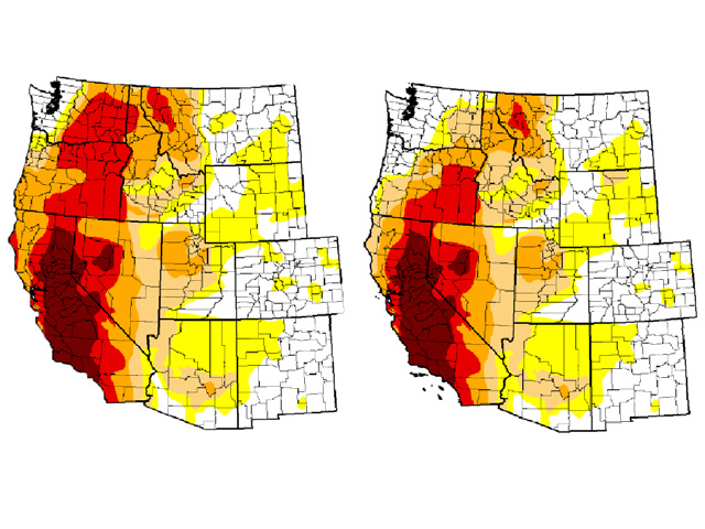 A comparison of western U.S. Drought Monitor conditions from December 1 (left) to Dec. 29 (right) shows that Washington and Oregon have some notable benefit due to heavy rain and snow. (National Drought Mitigation Center graphic)