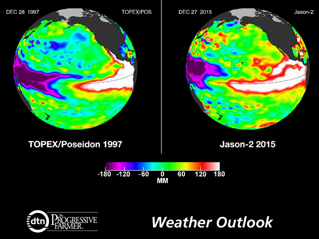 Late December Pacific Ocean temperatures are at least as high as in the big El Nino of 1997-98. (NASA/JPL-Caltech graphic)