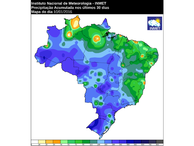 Estimated rainfall totals in central and southern Brazil for January are mostly four inches (200 millimeters) or greater. (INMET graphic)