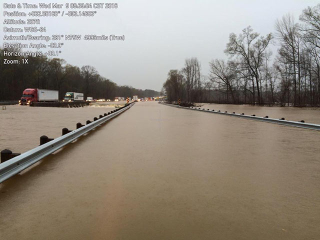 Flooding along Interstate 20 in north-central Louisiana is just one example of the effects of record heavy rain in the March 9-11 time frame. (Louisiana Homeland Security photo)