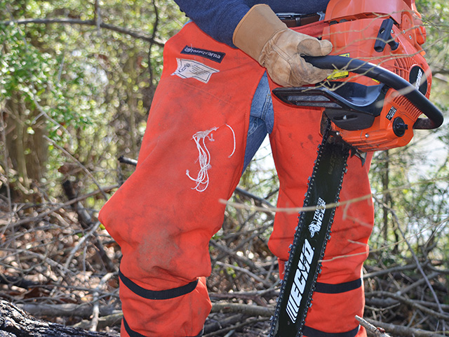 Wood cutters chaps don't cost much but they can save your life if your chainsaw slips. Note the rip that indicates where chaps prevented a potentially devastating accident. (DTN/The Progressive Farmer photo by Brent Warren)