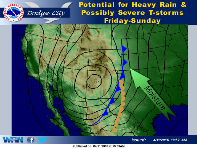 "While not a ""cutoff low,"" a slow-moving upper-air trough in the southwestern Plains promises to be a major rain-maker in the next 10 days. (Dodge City National Weather Service graphic)"