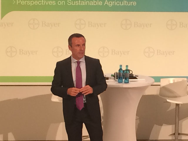 Bayer's role in future farming innovations was Liam Condon's message during the Bayer's press conference while questions over consolidation continue. (DTN photo by Pamela Smith)