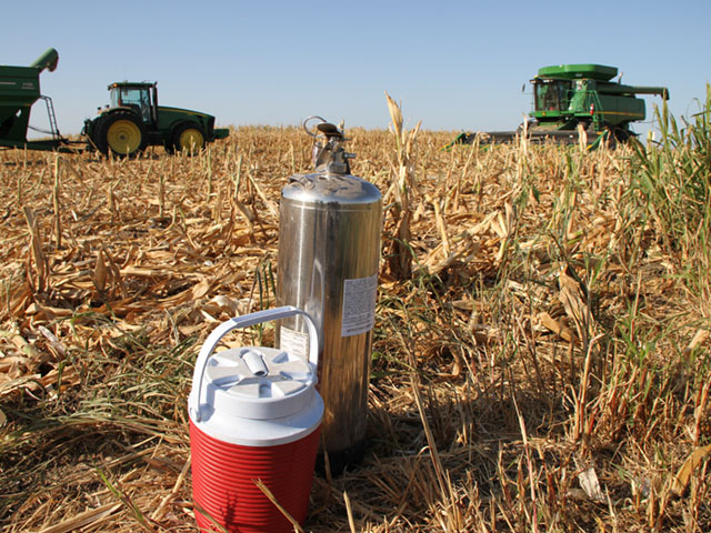 A functioning fire extinguisher should be in the cab of every harvest vehicle this fall. It can save lives and expense. (DTN/The Progressive Farmer photo by Pamela Smith)