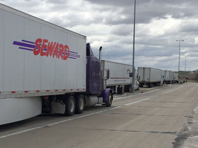 Truckers take a mandatory break at a rest stop. (DTN photo by Mary Kennedy)