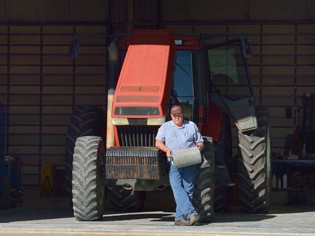 Justin Johnson, a technician at Heartland Tractor, a Case IH dealership in Nevada, Missouri, offers simple maintenance tips for the off season. (DTN/The Progressive Farmer photo by Jim Patrico)