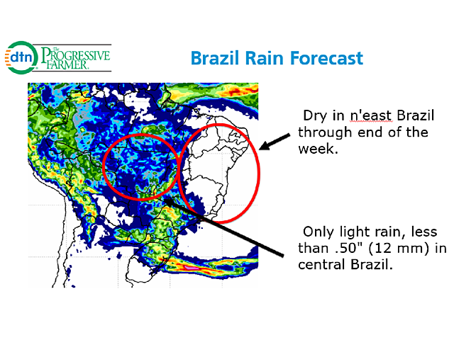 Almost no rain is forecast for northeastern Brazil through the New Year's weekend, and only light amounts are indicated for top soybean state Mato Grosso. (Brazil Meteorological Institute graphic)