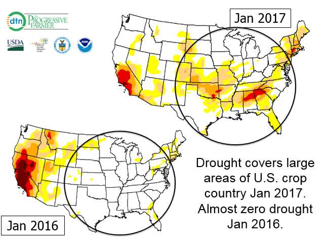 Large portions of the U.S. east of the Rockies have some level of drought in midwinter 2017 compared with almost no drought in these areas a year ago. (U.S. Drought Monitor graphic by Nick Scalise)
