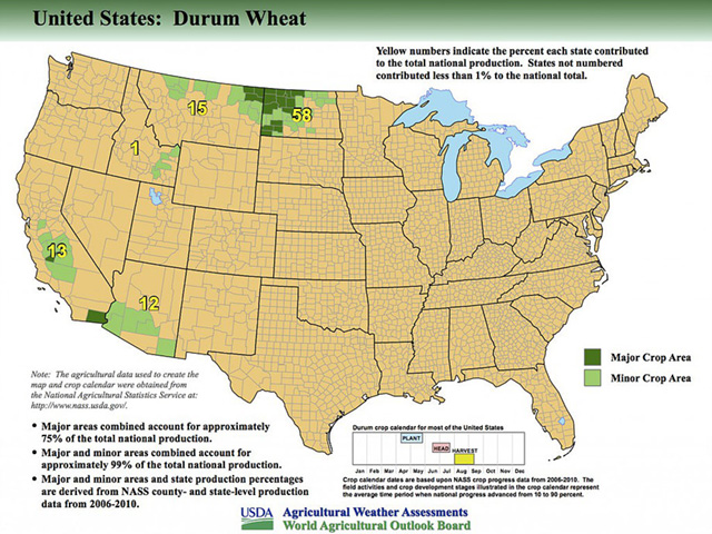 This map shows the U.S. durum triangle in Northwestern North Dakota/Northeastern Montana where the majority of durum is grown. (Photo courtesy USDA)