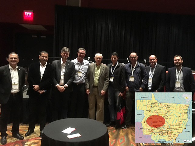 Brazil's Aprosoja delegation attended my DTN weather outlook program at Commodity Classic in San Antonio. Inset: Western Mato Grosso -- a large soybean production sector -- has had extensive rain damage. (Photo by Bryce Anderson; graphic by Nick Scalise)