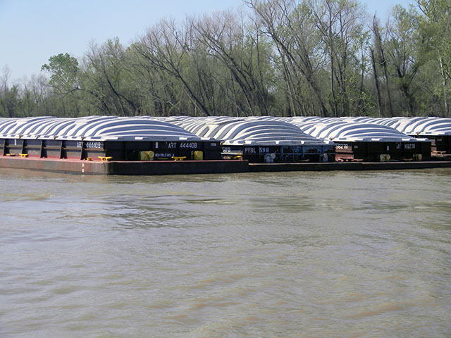 Because DDGS demand from Asian markets has weakened, the container market for export has been slow, but DDGS movement on barges destined for the Gulf has picked up pace. These barges are on the Mississippi River in Destrehan, Louisiana. (DTN photo by Mary Kennedy)