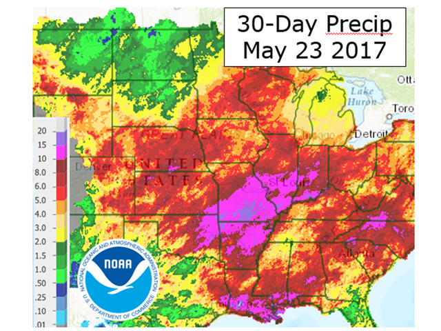 Despite rainfall totals of up to ten inches in the past 30 days, Midwest planting is practically on par with average. (NOAA graphic by Scott Kemper)