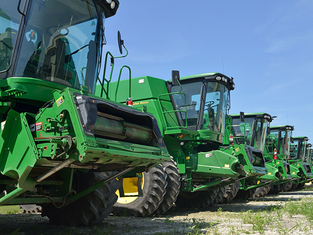 Inventories at farm equipment dealers have fallen, but sales of combines and high-horsepower tractors continue to be slow. (DTN/The Progressive Farmer photo by Jim Patrico)