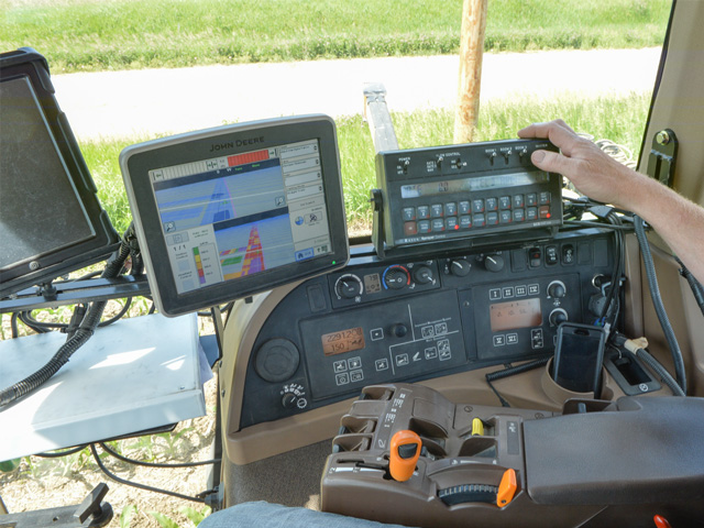 A tractor cab is a high tech command center today that offers farmers the ability to increase productivity and efficiency. (DTN/The Progressive Farmer photo by Bob Elbert.)