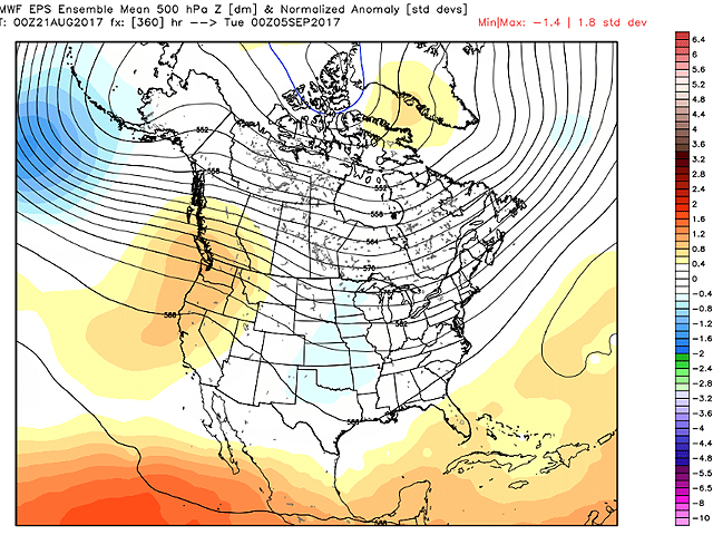 Upper-air forecast maps through the end of August show no cold air pooling in northern North America. But there's still the entire month of September for producer concern. (Graphic courtesy of ECMWF)