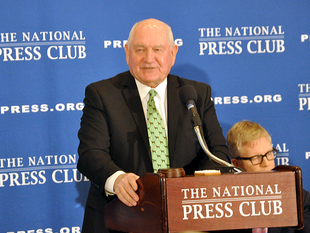 Ag Secretary Sonny Perdue speaking last month at the National Press Club in Washington. USDA released principles to help guide Congress in writing a new farm bill.