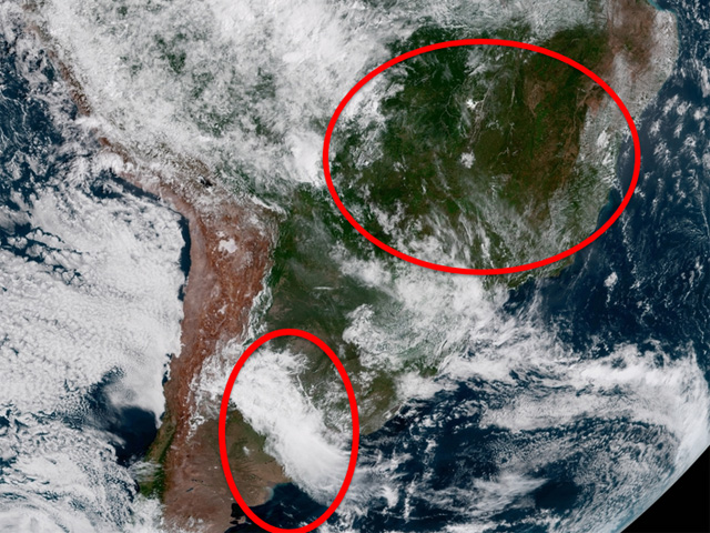 Mid-January satellite imagery in South America features dry conditions in northeastern Brazil, and a round of thunderstorms in Argentina. (GOES-16 satellite image)