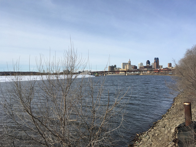 Pictured is the quiet Mississippi River in downtown St. Paul, Minnesota, March 16, 2018. Shippers in the Twin Cities District are waiting for the last of the ice to melt on Lake Pepin so the first barge can make it here to open the 2018 shipping season. (Photo courtesy of Michelle Heck Webster, St. Paul, Minnesota)