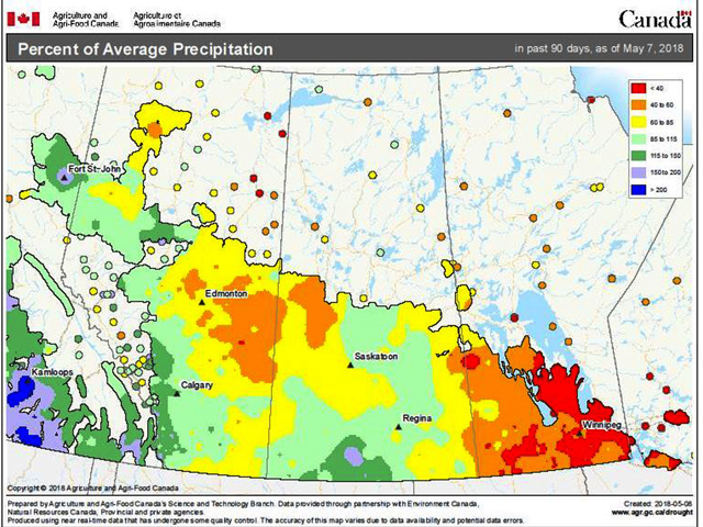 Parts of the Canadian Prairies, especially in Manitoba, have seen below- and much-below their average precipitation. (Agriculture and Agri-Food Canada graphic)