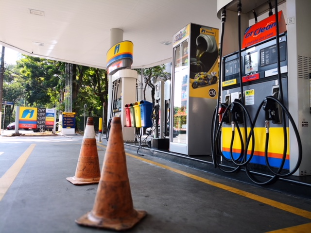 A gas station in Sao Paulo, Brazil, is out of fuel following the national truckers' strike that is carrying into its second week across the country. (DTN photo by Lin Tan)
