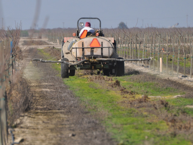 a farmworker sprays a field n California. States are challenging an effort by EPA to delay new training requirements for pesticides and farmworkers. (DTN file photo by Chris Clayton