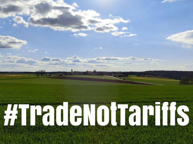 Last year as tariff talk with China heated up, farm groups championed the hashtag #tradenottariffs. Image courtesy of the Nebraska Corn Growers Association.